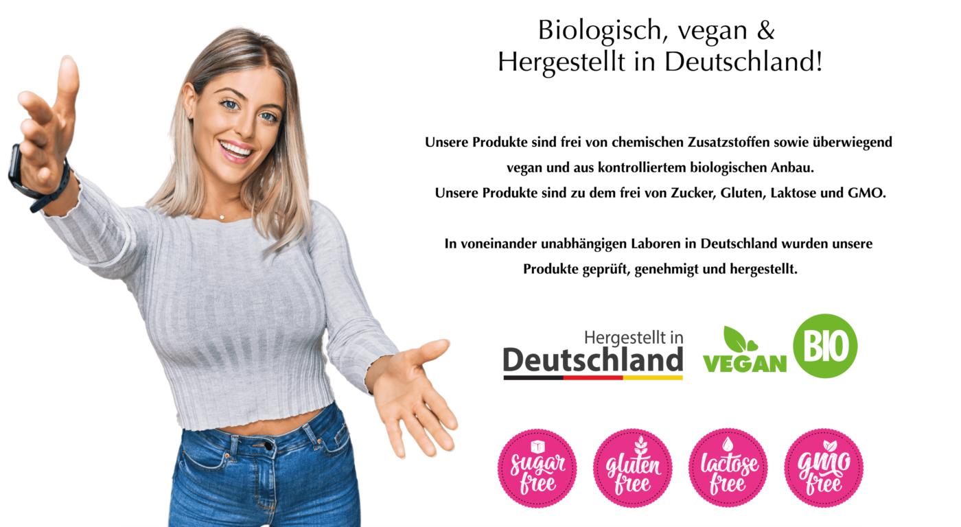 vegan bio glutenfrei laktosefrei zuckerfrei gmofrei made in germany hergestellt in deutschland de shape angel für frauen for women nahrungsergänzungsmittel supplement abnehmen gesundheit vitalität kraft kur